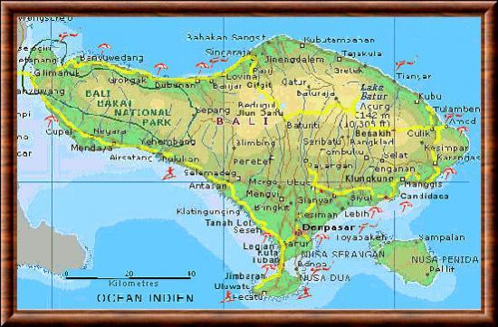 Carte Bali Superficie.Bali Ile De